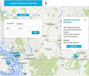 Localizzatore mondiale scuole di volo. Creato da Rotax