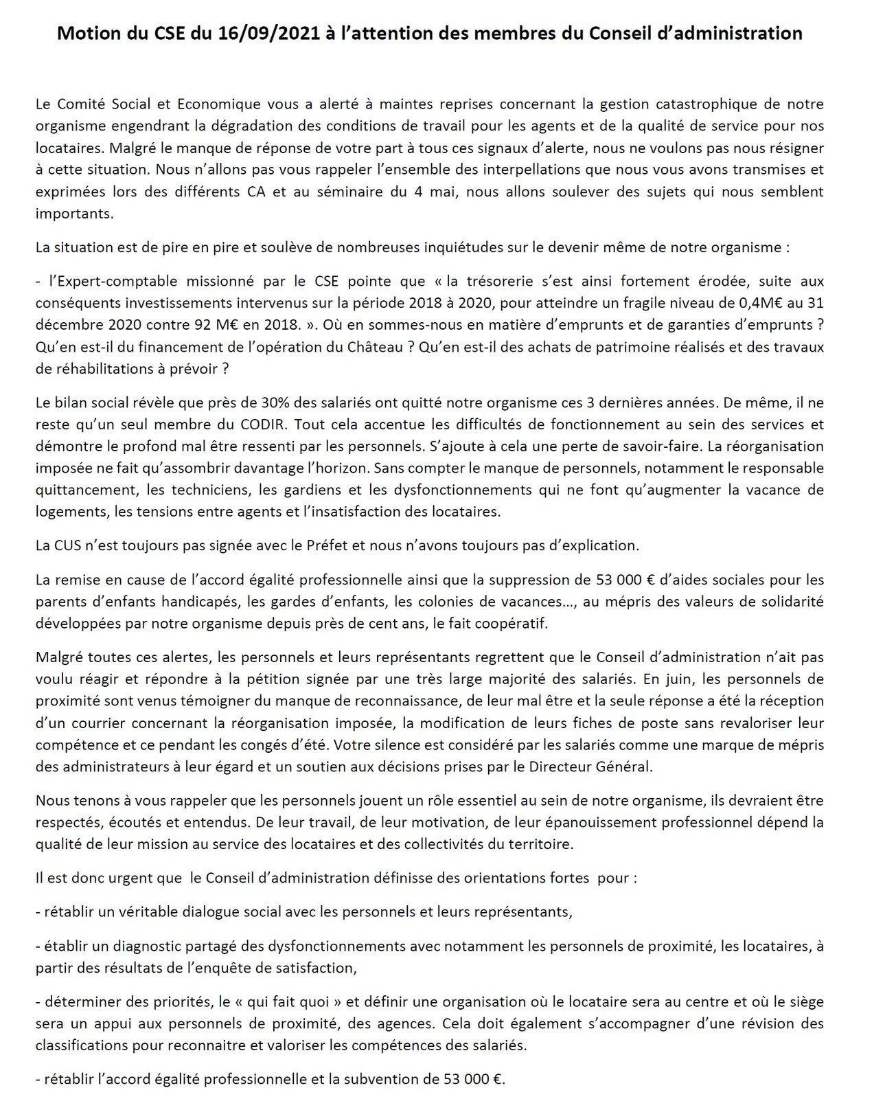 Motion du CSE aux administrateur d'AB Habitat pour stopper la dégradation de la qualité de service et des conditions de travail des conditions de travail