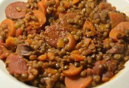 Lentilles chorizo weight watchers au cookeo