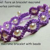 Tutoriel: bracelet macramé rond avec perles centrales (DIY macramé bracelet with beads)