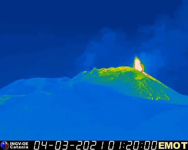 Etna- 04.03.2021 / 01h20 - from 01h UTC, an increase in the strombolian activity of the SEC is observed - INGV webcam