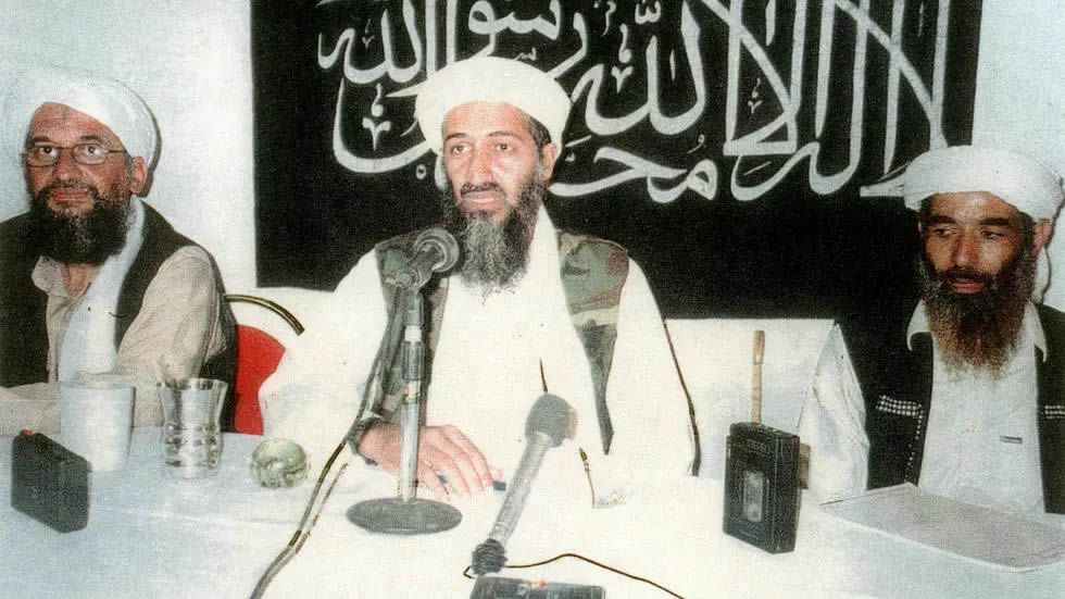 Osama Bin Laden with Ayman Al-Zawahiri, left, and Muhammad Atef HANDOUT US Attorney for the Southern District of New York/AFP/File
