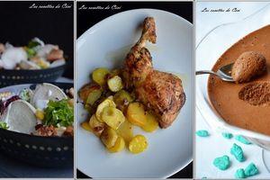 Idée menu: salade, poulet et mousse chocolat/caramel