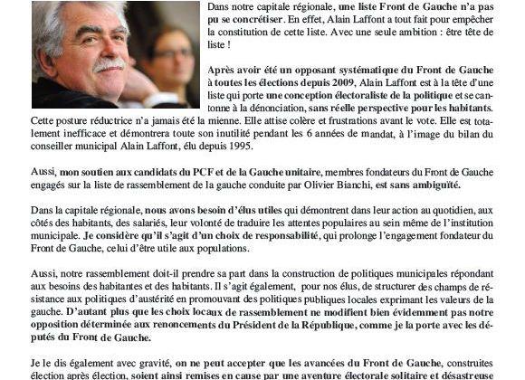 Appel d'André Chassaigne aux Clermontoises et Clermontois - Président du groupe Front de Gauche à l'Assemblée Nationale