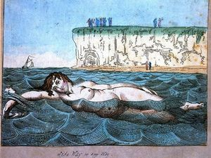 A woman diving off a bathing wagon in to the sea (cliquer pour agrandir)