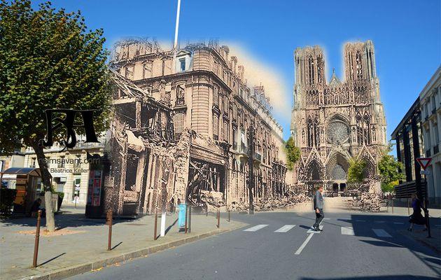Reims dans ses Ruines : rue Rockefeller et place du Parvis