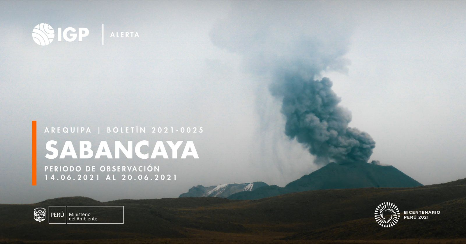 Sabancaya - activity from June 14 to 20 - report by I.G. Peru