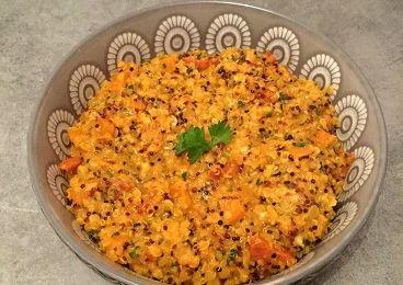 Quinoasotto, lentilles corail, patates douces et chorizo