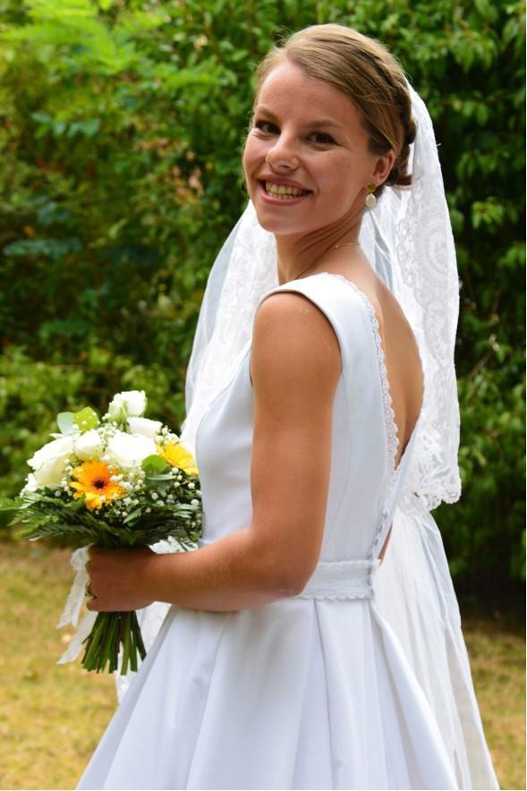 robe de mariée Clotilde D. piqué de coton jour J