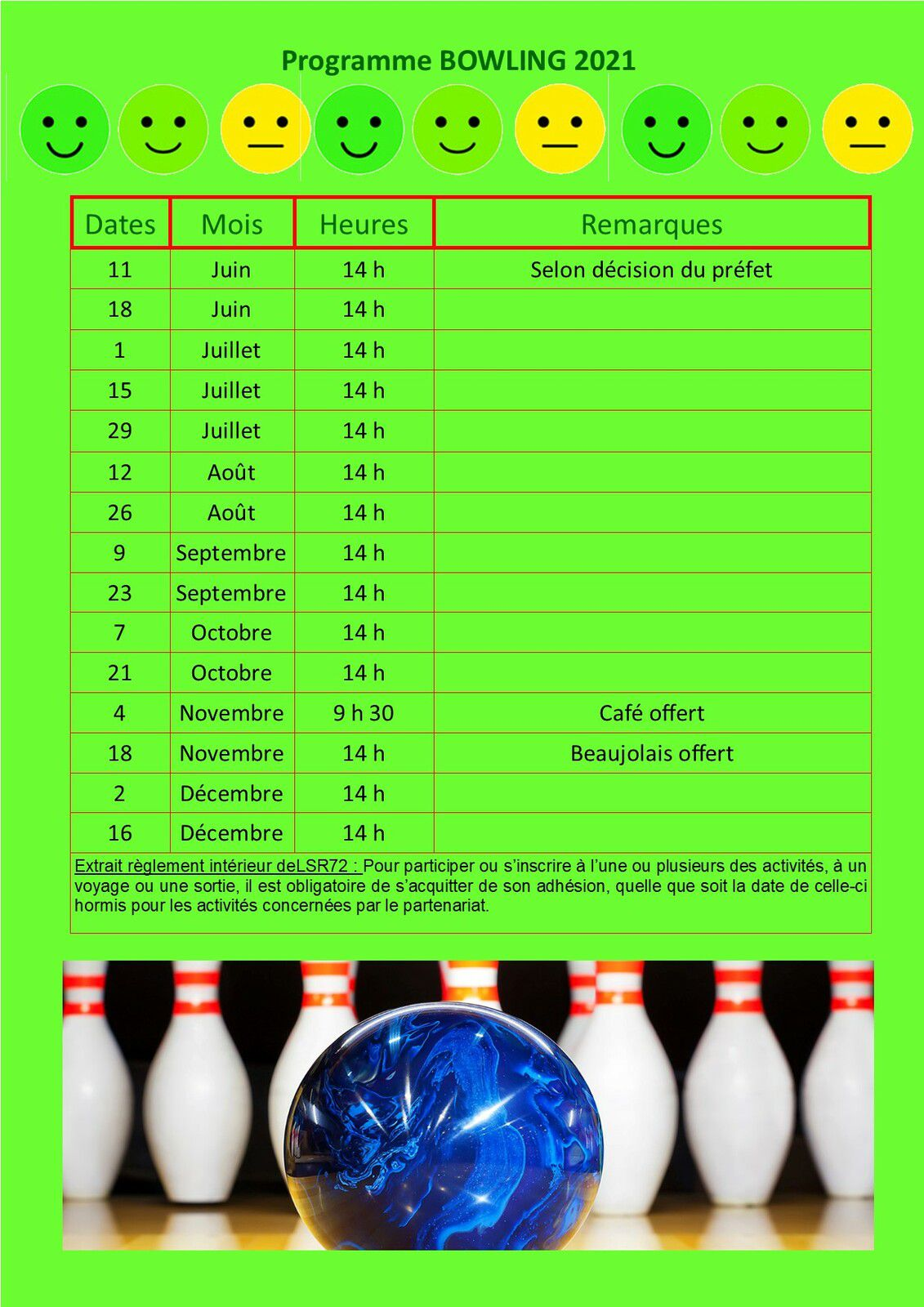 Calendrier  Bowling 2021