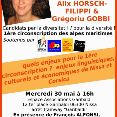 Rencontre-débat Mercredi 30 mai 16h Espace Associations - salle Avelanie 12 ter place Garibaldi (affiche)
