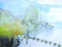 Saint-Valery-Canal, brumes au petit matin.