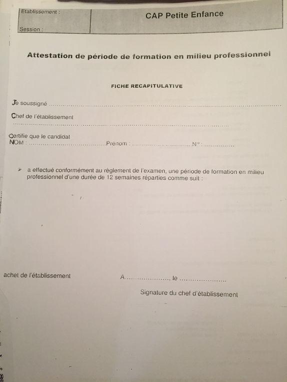 formulaires et  attestation, validation d'acquis , de compétences,  pour valider son stage en CAP petite enfance , maternelle , ATSEM, sur charlotteblablablog