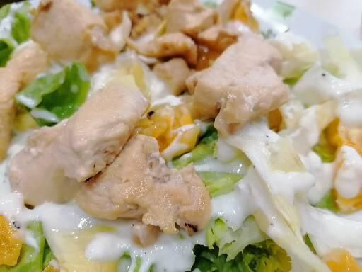 Salade poulet endives orange sauce yaourt