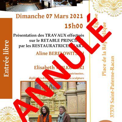 IMPORTANT : Annulation de l'animation du 7 mars à l'église de Saint-Paterne-Racan