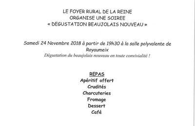 Le foyer rural de la reine organise une soirée dégustation Beaujolais nouveau: le samedi 24 novembre 2018