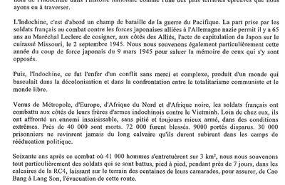 """Le 08 juin, journée nationale d'hommage aux """"morts pour la France en Indochine"""""""