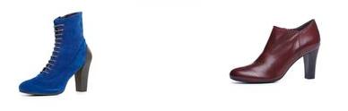 Mariam pitonato (140 euro) Laurence in scamosciato blu o rosso (200 euro) Milva pelle verniciata (140 euro)