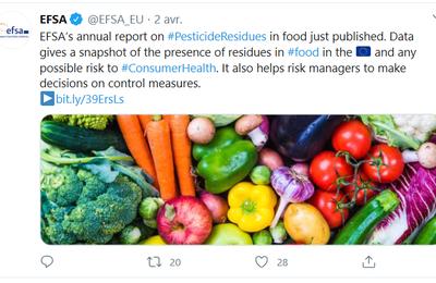 Résidus de pesticides dans les aliments : un rapport de l'EFSA à nouveau rassurant
