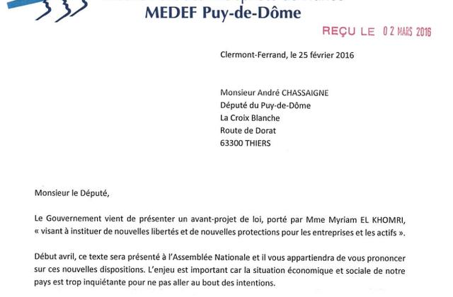 Réponse au MEDEF Puy-de-Dôme sur le projet de loi Travail