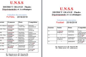 Calendrier futsal et football 2018-2019
