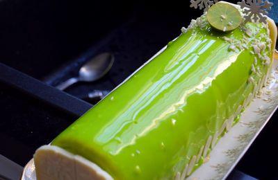 Bûche façon Entremet, Mousse Citron, Insert Ananas-Mangue, Biscuit Joconde & Glaçage Miroir sans Glucose
