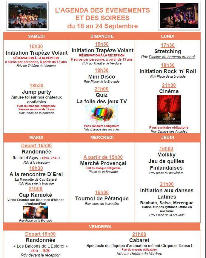 Programme des animations pour la période du 18 au 26/09