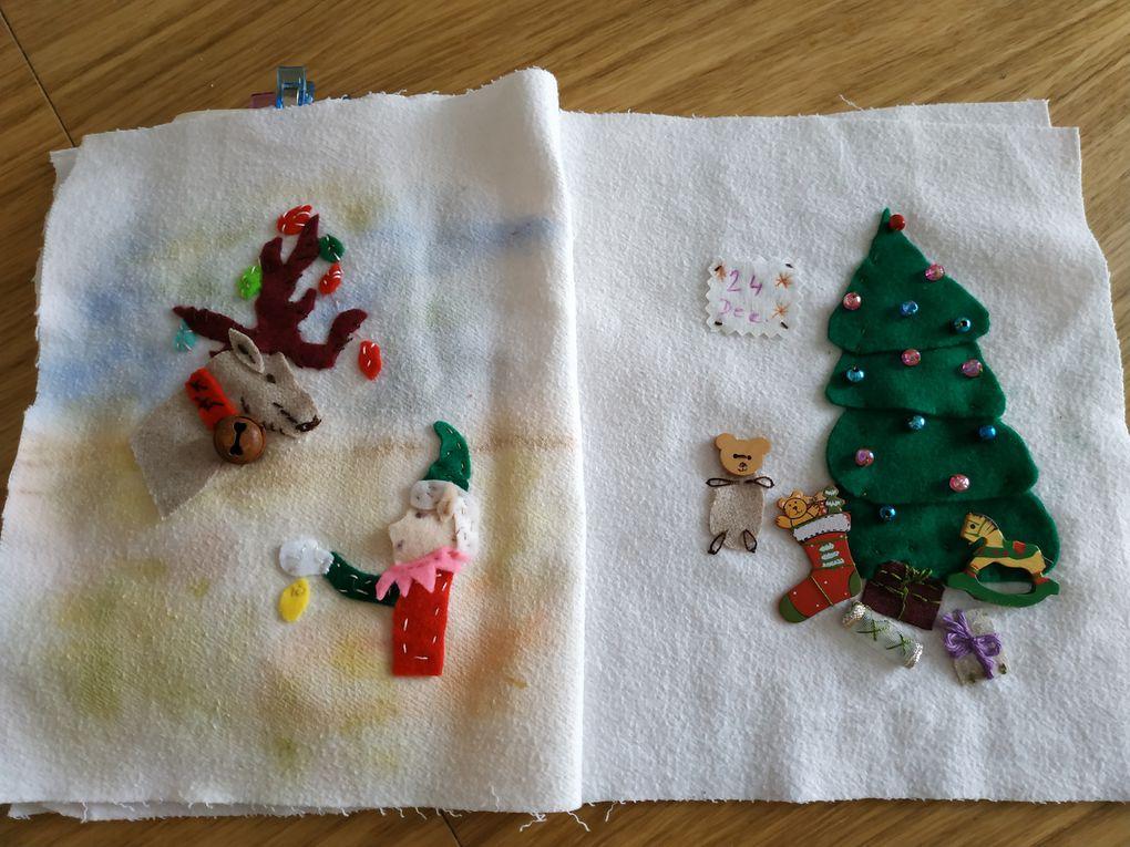 """Livre en tissu du Père Noël (défi """"préparer Noel tout au long de l'année"""" )"""