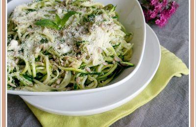 Spaghetti de courgettes menthe et parmesan