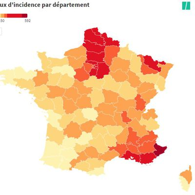 Taux d'incidence du Covid par départements