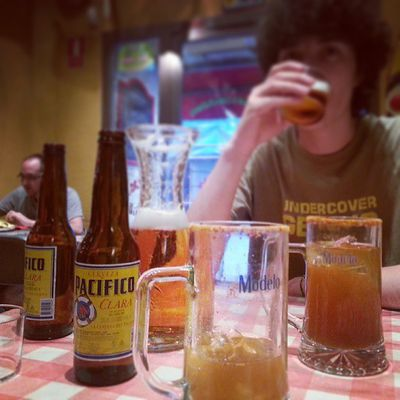 #cervezamichelada in a #mexican restaurant with my #italian flatmate. He didn't appreciate it. #idiot! #lol #Madrid
