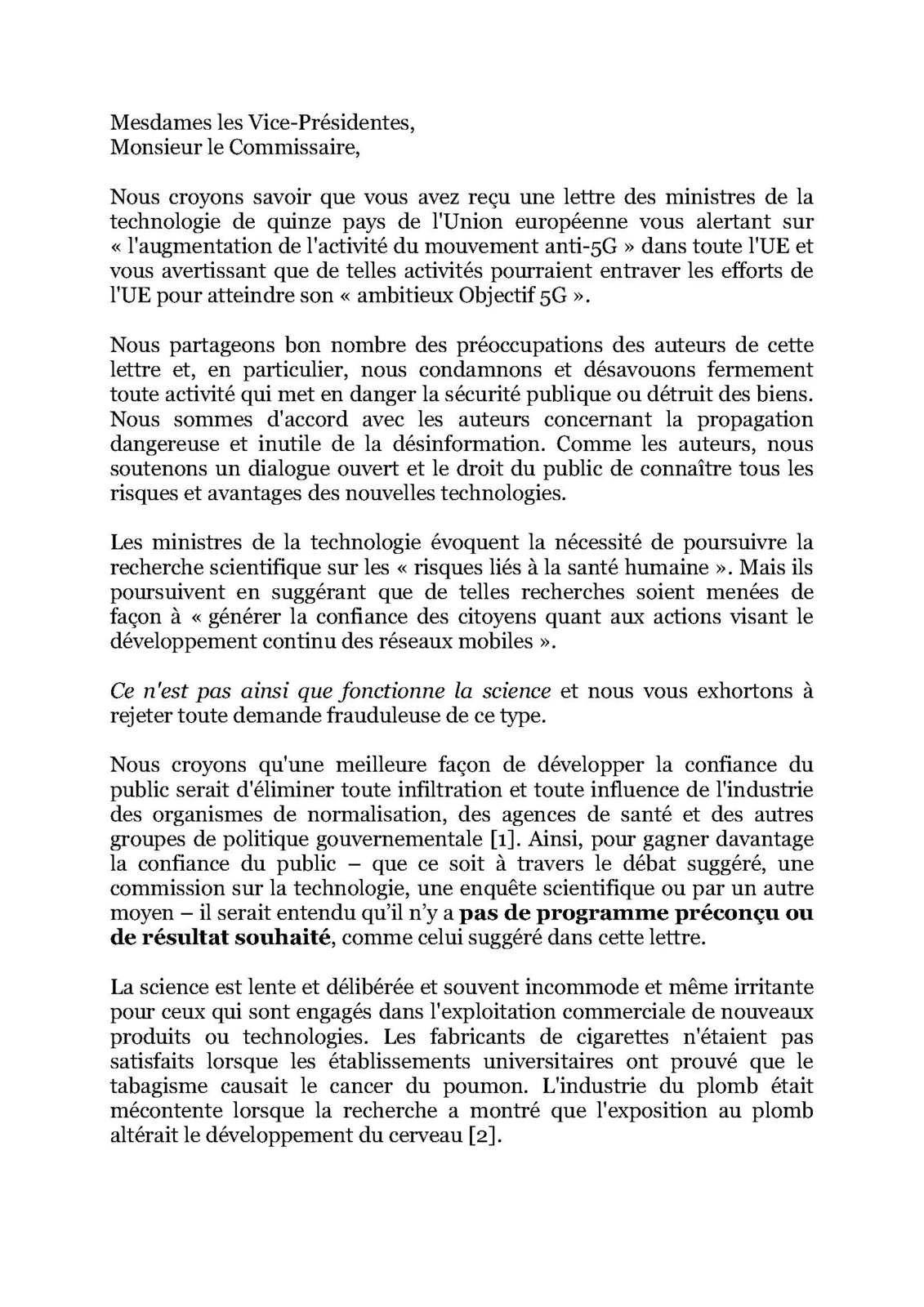 Lettre ouverte aux Vice-Présidentes de la CE et à Thierry Breton