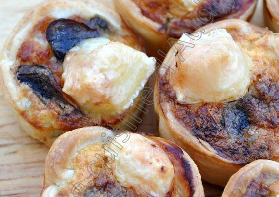 Bouchées jambon, champignons et camembert