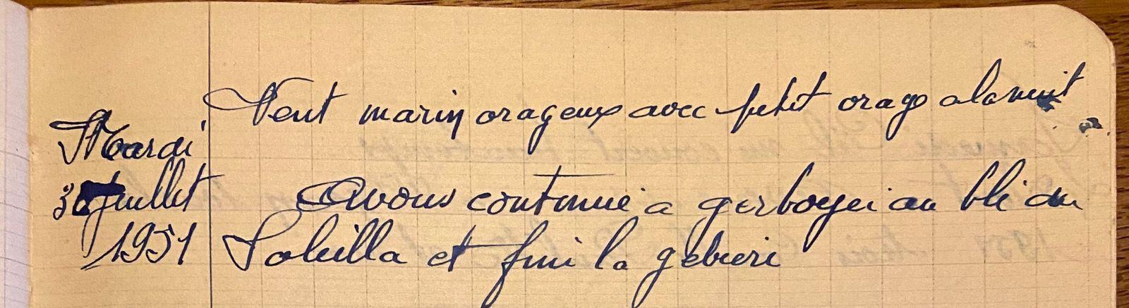 Mardi 31 juillet 1951 - Les gerbes du Souleilla