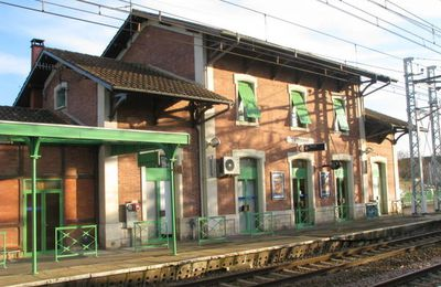 Un train Fret traverse la gare de Caussade ( 82 )