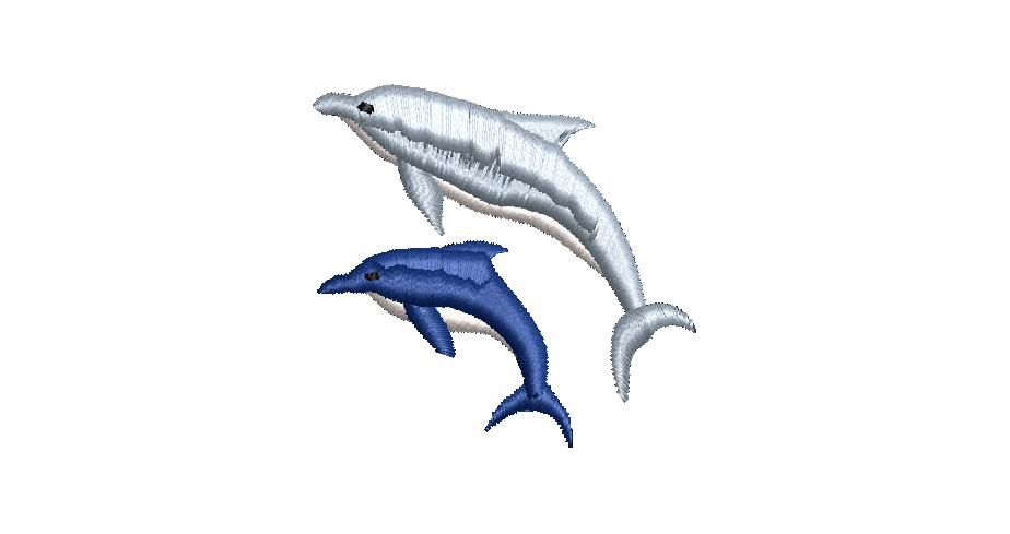BRODERIE COUPLE DAUPHINS