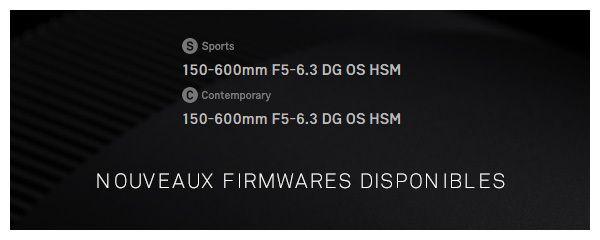 Sigma: MAJ firmware objectif 150-600mm S et C