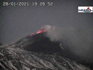 Etna SEC - activity on 01.28.2021, at 6:22 p.m., 7:28 p.m. and 8:27 p.m. respectively - LAVE webcam - one click to enlarge