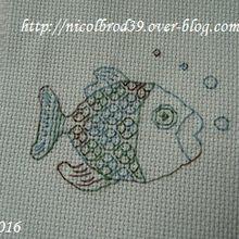 Un poisson bleu, en blackwork