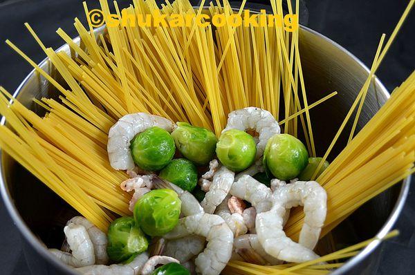 One pot pasta aux choux de Bruxelles
