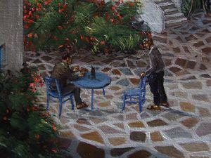 Vue imaginaire de Grèce, détails du peintre à son chevalet, de la galerie de peinture, etc. Huile sur toile 50x65 Bhavsar Eté 2017