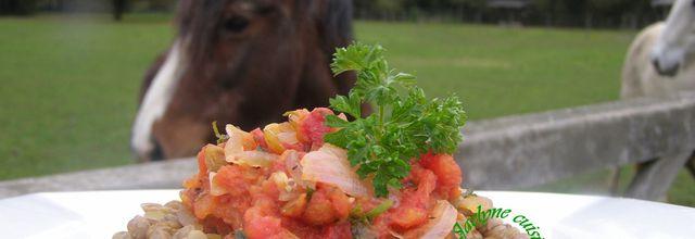 Lentilles vertes du Puy, tomate, oignon, persil, ail. Nouvelle rubrique *Légumineuses santé*