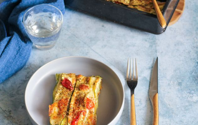 Lasagnes de courgettes, tomates cerises et jambon