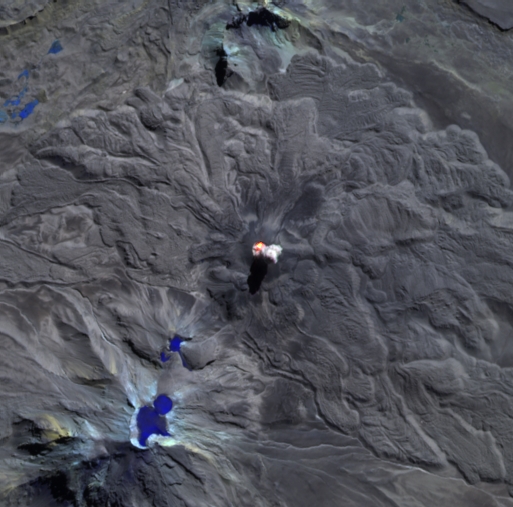 Sabancaya - 06.13.2021 - thermal anomaly and plume - image Sentinel-2 bands 12.11.8A - via Mounts project