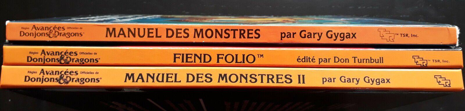 Les 3 manuels des monstres pour AD&D première édition, tous en français et TOUS en version couverture à dos orange !!!