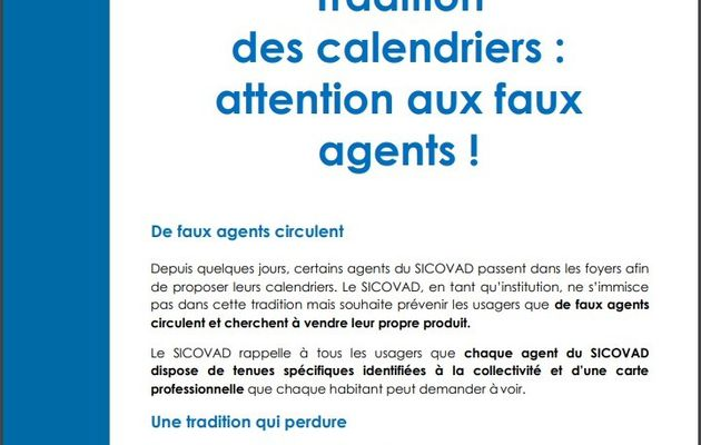 Informations Calendrier SICOVAD