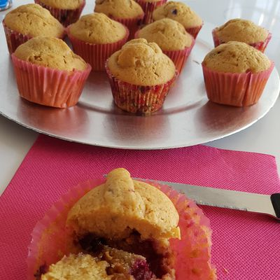 Muffins Dulcey coeur fruits rouges