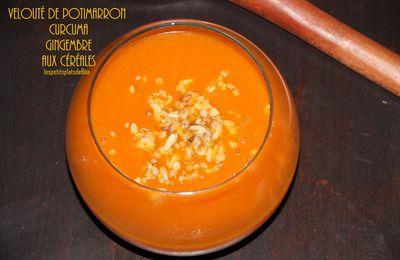 Velouté de potimarron, gingembre, curcuma aux céréales