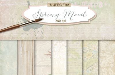 Digital Scrapbook Kit of Backgrounds-downloads freebies-Spring Mood
