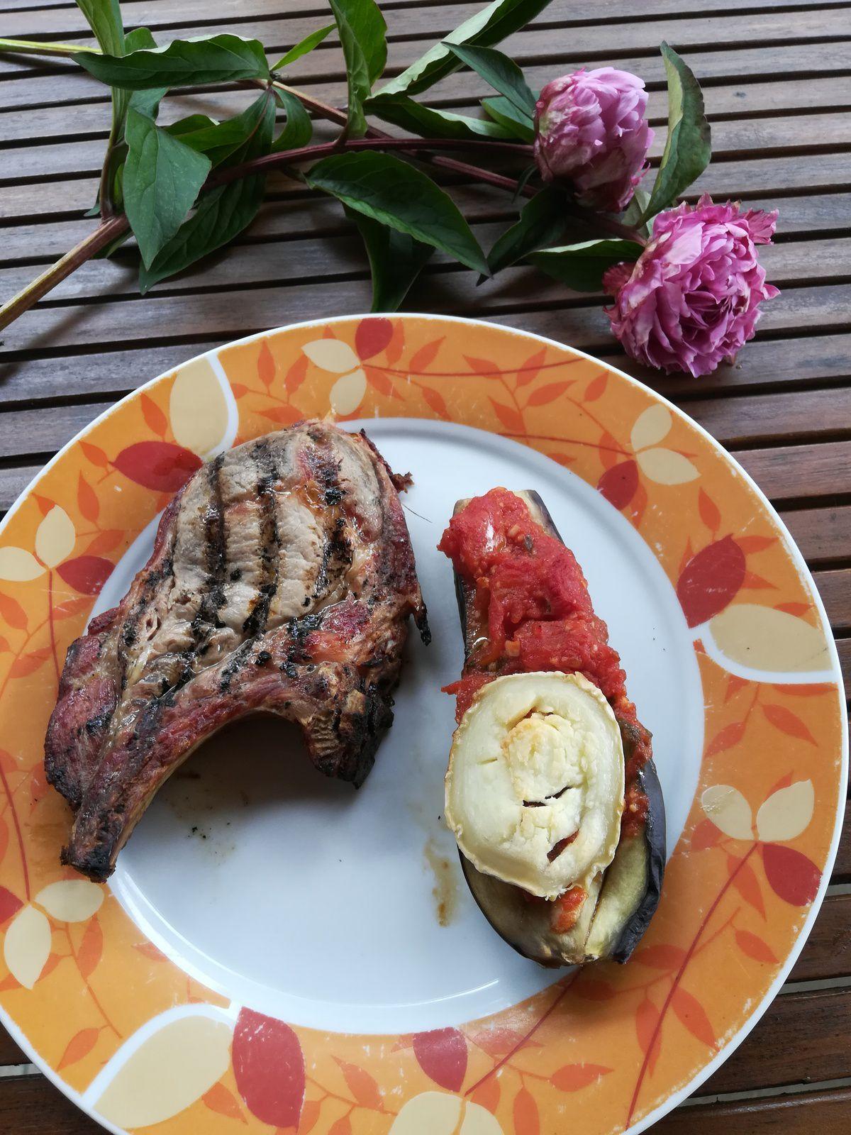 aubergines tomates et chèvres au four